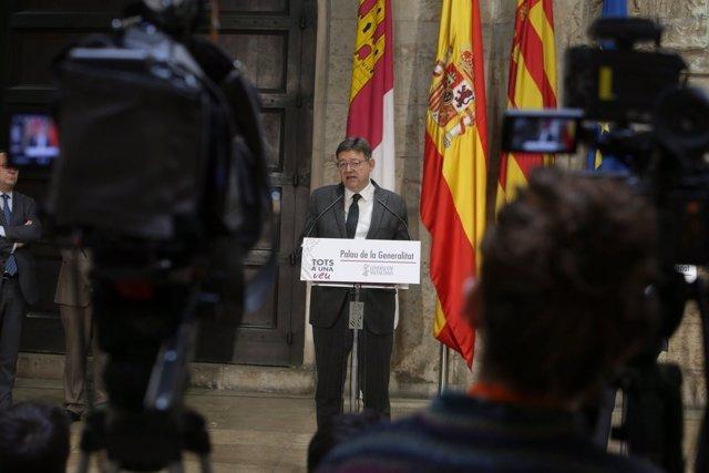 El 'president' Ximo Puig en rueda de prensa