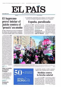 Portada 'El País' del 21 de enero de 2018