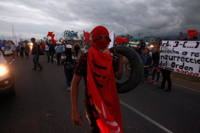 An opposition supporter carries a tire holds a during a protest against the re-e