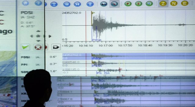 Datos de un sismógrafo en una pantalla