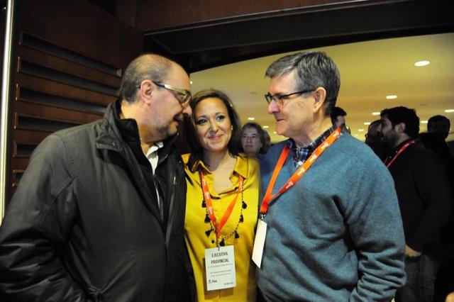 Javier Lambán, Mayte Pérez y Vicente Guillén.