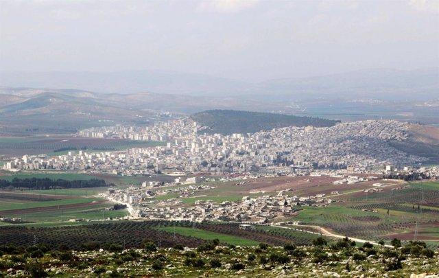 Vista general de la ciudad kurda de Afrin