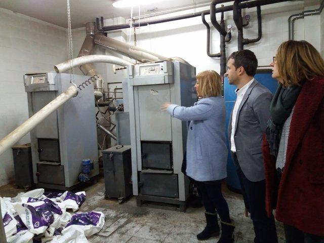 Visita del PSOE a la caldera del colegio Santo Domingo de Jaén