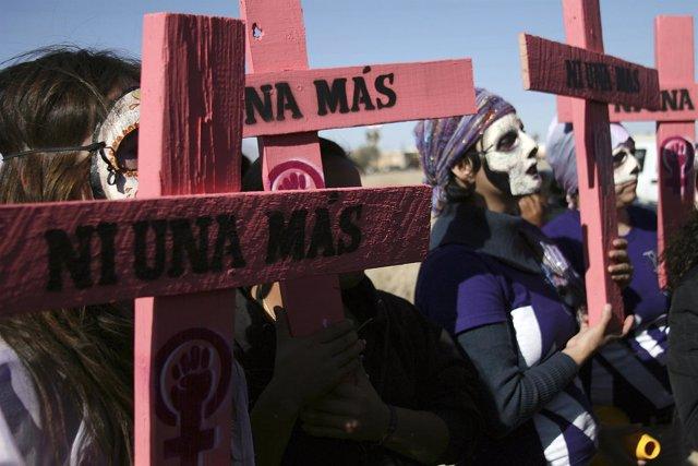 Protesta contra los feminicidios en Ciudad Juárez
