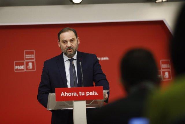 Rueda de prensa de José Luis Ábalos tras la reunión de Ejecutiva Permanente