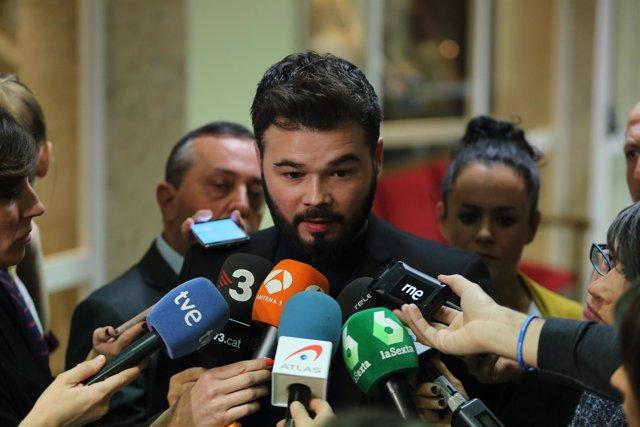 Gabriel Rufián en declaraciones en el Congreso