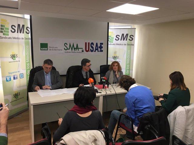 Sindicatos sanitarios en rueda de prensa sobre el decreto de las 37,5 horas