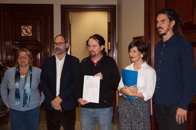 Alberto Montero, Pablo Iglesias, Yolanda Díaz y Alberto Rodríguez