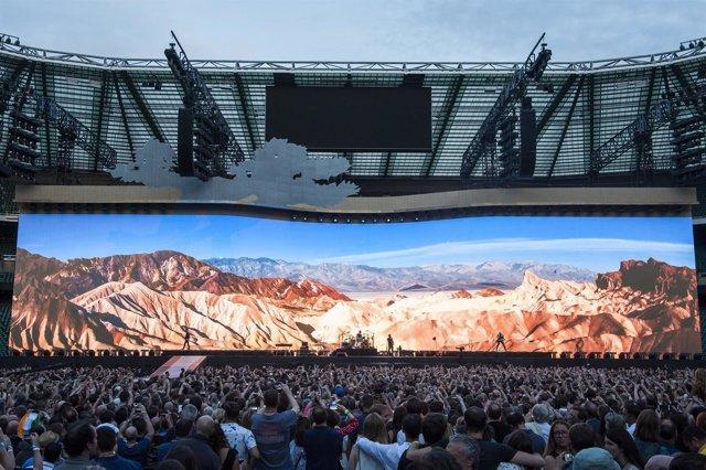 U2 perform Joshua Tree live on stage at Twickenham Stadium, Twickenham, London.