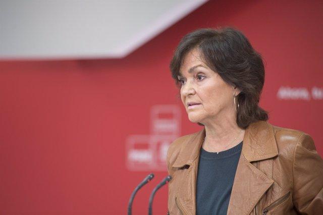 La secretaria de Igualdad del PSOE, Carmen Calvo