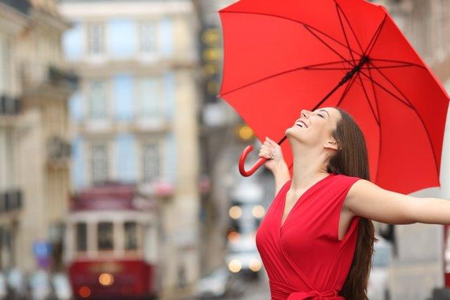 Felicidad, lluvia, paraguas, sonrisa