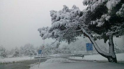La nieve obliga al uso de cadenas en el puerto alavés de Herrera