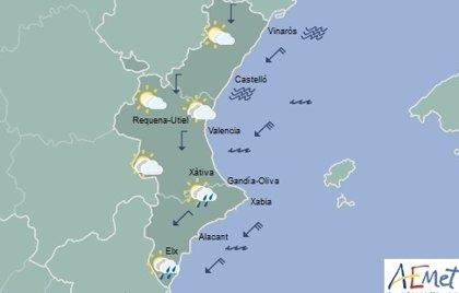 Aviso amarillo por lluvias en Valencia y Alicante