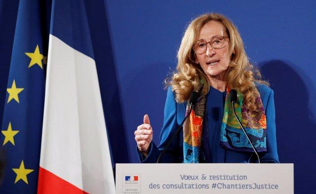 La ministra de Justicia francesa Nicole Belloubet durante una rueda de prensa