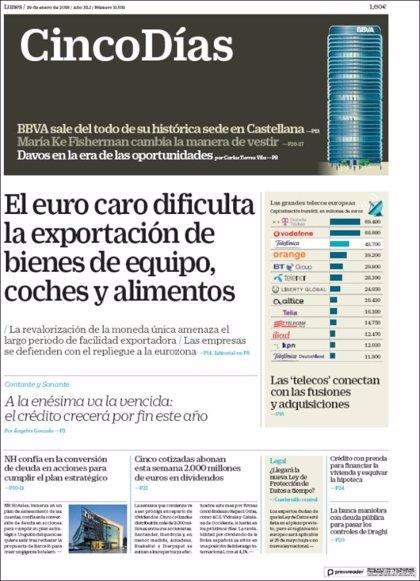 Las portadas de los periódicos económicos de hoy, lunes 29 de enero