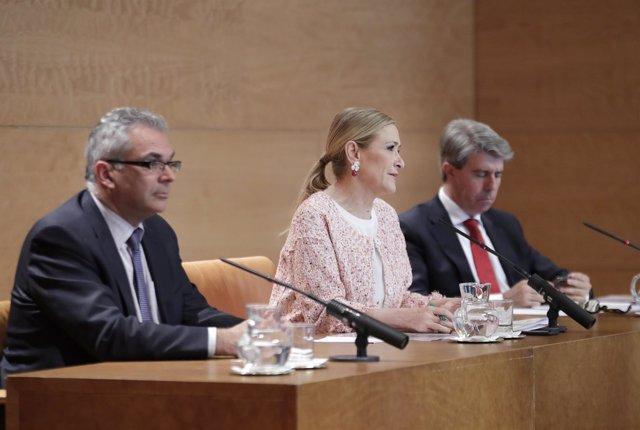 Carlos Izquierdo, Cristina Cifuentes y Ángel Garrido