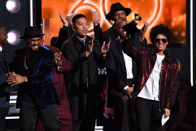 Jan 28, 2018; New York, NY, USA; Bruno Mars accepts Song of the Year for That's