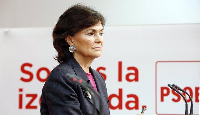 La secretaria de Igualdad, Carmen Calvo