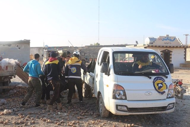 Ataque aéreo sobre la ciudad de Saraqib, en la provincia de Idlib
