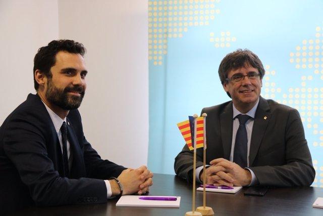 Primera reunión de Roger Torrent y Carles Puigdemont, en Bruselas