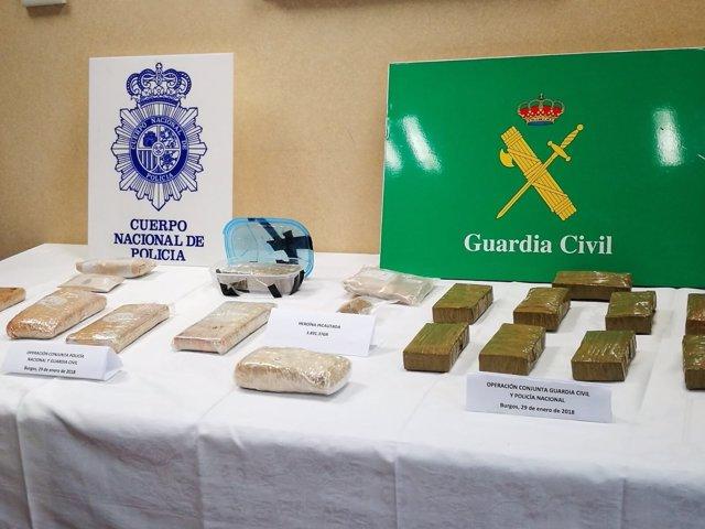 Droga incautada a la banda criminal