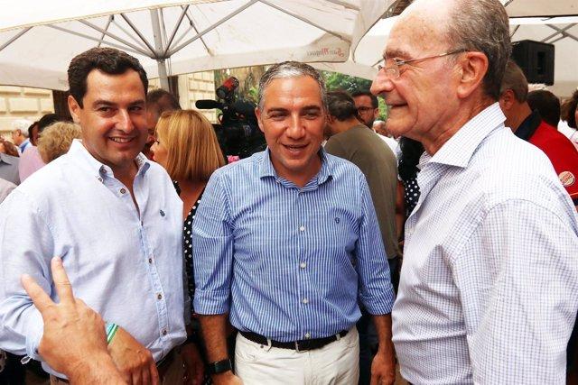 Juanma Moreno, Elías Bendodo y alcalde de Málaga