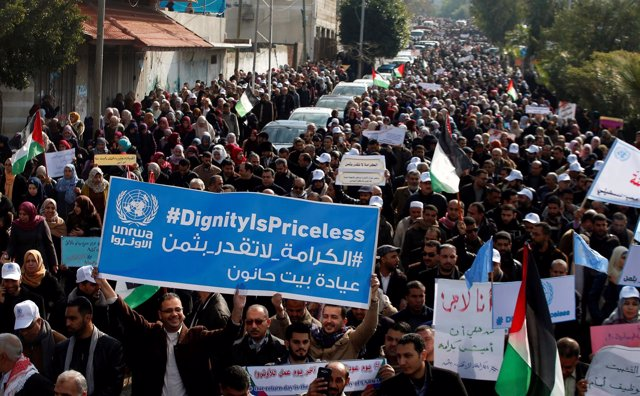 Empleados de la UNRWA en huelga en Gaza
