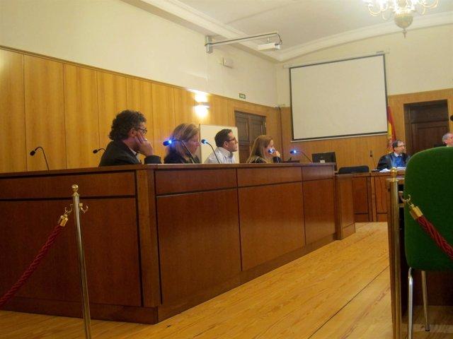 Los acusados, durante el juicio en Valladolid.