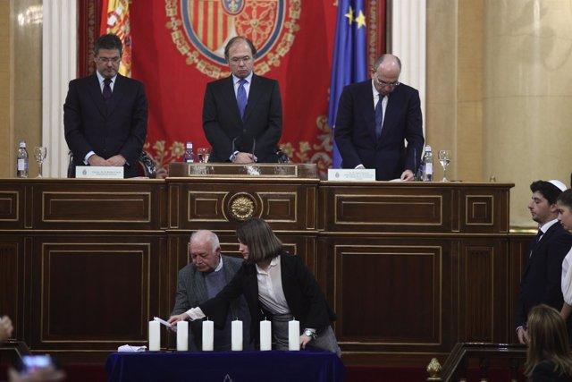 García-Escudero, Catalá e Isaac Querub en el acto por la Memoria del Holocausto