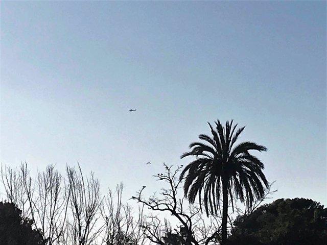 Helicóptero sobrevuela el Parlament