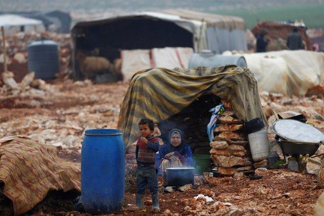 Campamento de desplazados en Kelbit, en Idlib