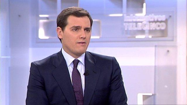 El presidente de Ciudadanos, Albert Rivera, en una entrevista en Telecinco
