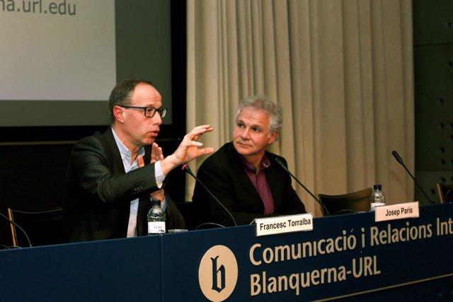 F.Torralba y J.París en las jornada sobre cuidadores domiciliarios en la URV