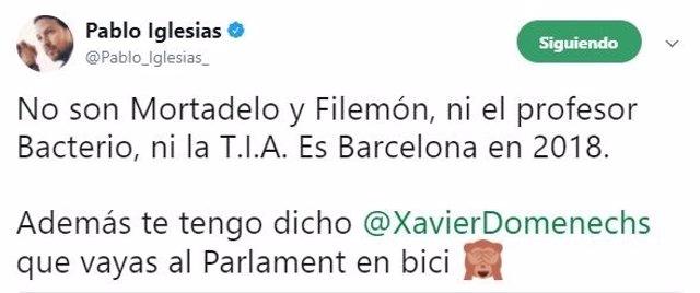 Tuit de Pablo Iglesias, secretario general de Podemos, sobre Cataluña