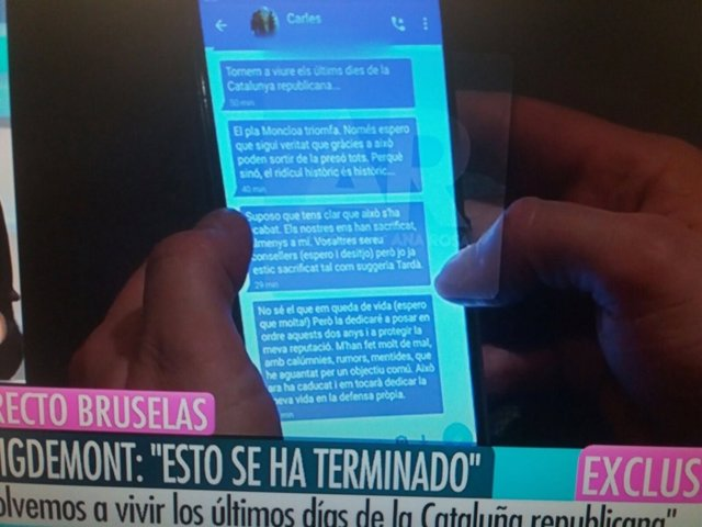 Pantallazo de los mensajes de Puigdemont a Comín