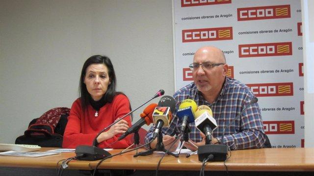 Sonia Bergasa y Juan Carlos Cantín, de CCOO Aragón