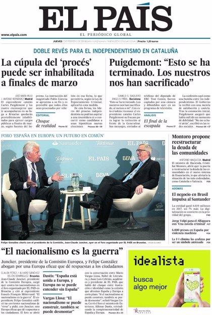 Las portadas de los periódicos de hoy, jueves 1 de febrero de 2018