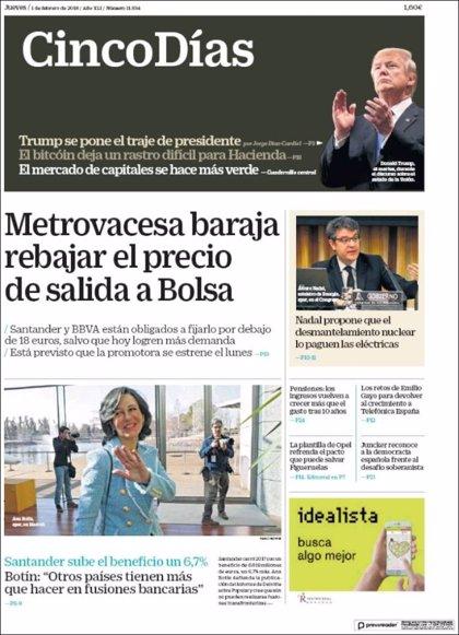 Las portadas de los periódicos económicos de hoy, viernes 1 de febrero