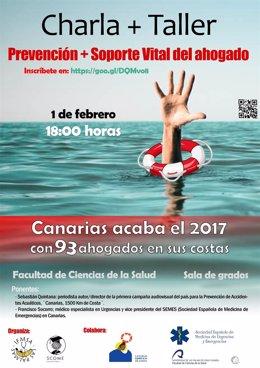Cartel de la charla-taller 'Prevención+ Soporte Vital del Ahogado'