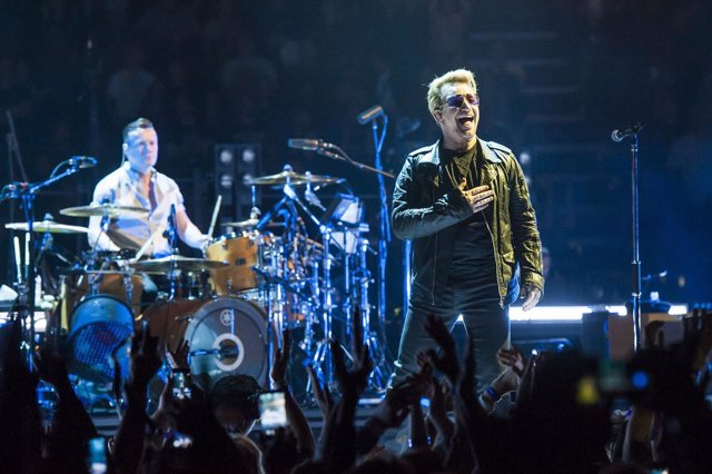 Bono of U2 performs live on stage at the O2 arena, Greenwich, London
