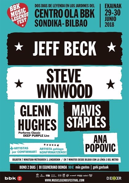 El BBK Music Legends Festival confirma a Jeff Beck