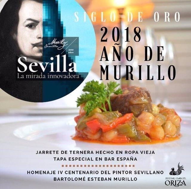 Tapa del Restaurante Oriza en conmemoración con el Año Murillo
