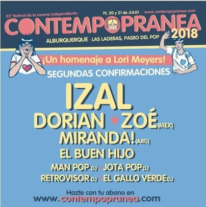 Izal, Dorian, Zoé y Miranda!, entre las nuevas confirmaciones del Festival Contempopranea