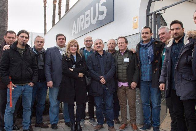 Secretario general de UGT, Pepe Álvarez, visita la factoría de Airbus en Tablada