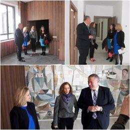 Imagen de la visita a las obras en la sede de la Delegación
