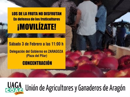 """UAGA convoca este sábado una concentración por los """"ruinosos"""" precios de la fruta"""