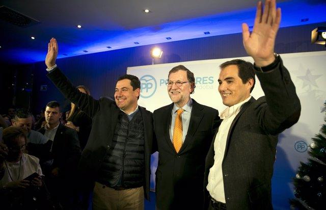 Juanma Moreno, Mariano Rajoy y José Antonio Nieto en un acto en Córdoba