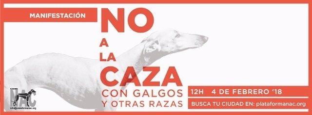 Cartel manifestación en contra de la caza