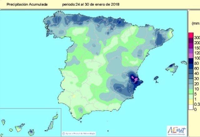 Las lluvias acumuladas desde octubre hasta el 30 de enero siguen sin llegar al v