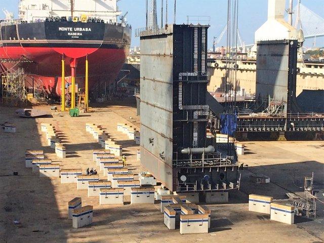 Quilla del tercer petrolero Suezmaxz en Navantia Puerto Real
